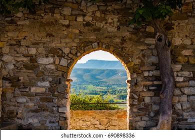 Medieval door and sainte baume, castellet - Shutterstock ID 690898336