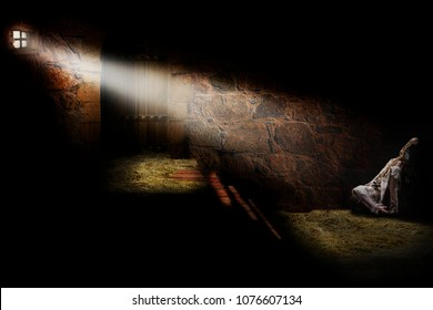 Medieval dungeon with a prisoner