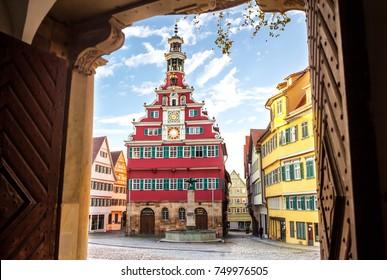 medieval Esslingen am Neckar,Germany, famous old Townhall