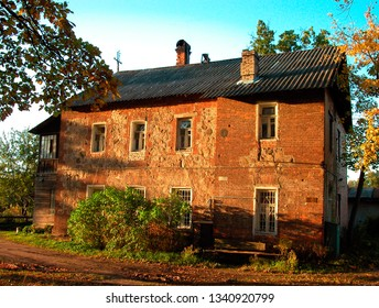 Medieval European brick and stone house at sun light