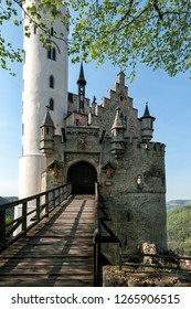 Medieval european castle in Germany. Castle Lichtenstein a town on the Neckar.