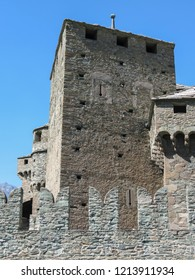 Medieval Fenis Castle in Aosta Valley in Fenis, Italy