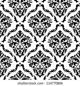 Medieval floral seamless in damask style for design. Vector version also available in gallery