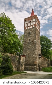 Medieval fortification with the city gate in Paczkaw in Poland