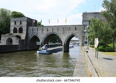 The medieval fortification in Tournai, Pont des Trous, oldest city in Wallonia, Province Hainaut, River Schelde, Belgium