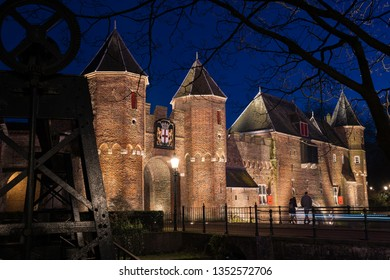 Medieval Fortified Wall in the center of an old Dutch city on the Veluwe. famous Tourist and authentic sightseeing in the Netherlands