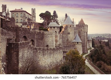 Medieval  fortness walls in evening time.  Carcassonne, France