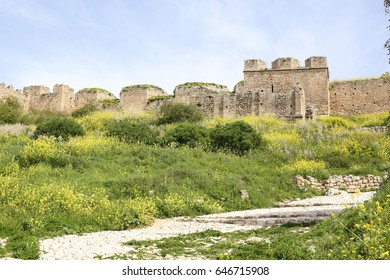 Medieval fortress Acrocorinth on a sunny spring day, Peloponnese, Greece