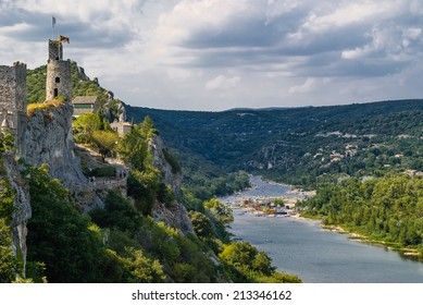 The medieval fortress of Aigu�¨ze Alongside the canyon of the Ardeche river in France