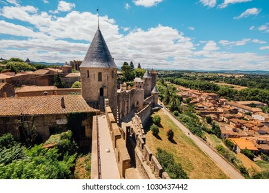"""The medieval fortress of the """"Cite de Carcassonne"""". Carcassonne. southern France.The fortress is a UNESCO world heritage site, a popular tourist destination"""