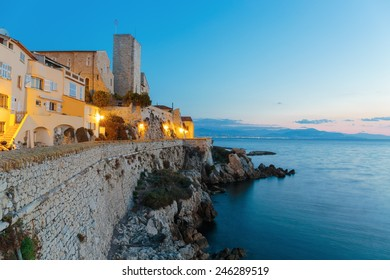 Medieval fortress at dawn Antibes, France