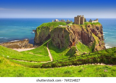Medieval fortress Dunnottar Castle is a ruined medieval cliff-top fortress dating to the fourteenth century. Aberdeenshire, Stonehaven on the Northeast of Scotland, UK