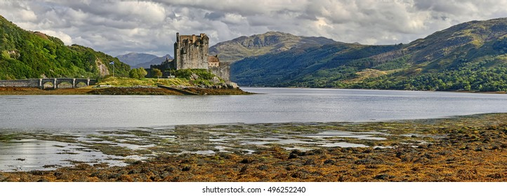Medieval fortress Eilean Donan Castle (Western Highlands, Scotland) - HDR panorama