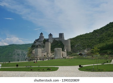 Medieval fortress Golubac located on the banks of the Danube River in Serbia, Europe.