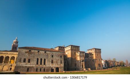 Medieval fortress, Gonzaga Saint George (Giorgio) castle in Italy, Mantua (Mantova)