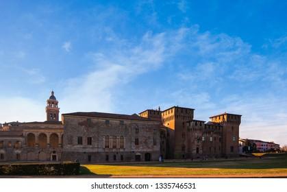 Medieval fortress, Gonzaga Saint George (Giorgio) castle in Italy, Mantua (Mantova).
