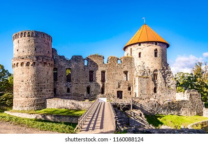 Medieval fortress ruin landscape. Stronghold castle fortress ruins view. Fortress ruins scene