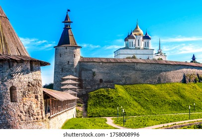 Medieval fortress tower wall view. Medieval fortress. Fortress walls view