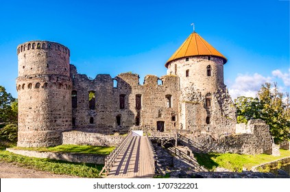 Medieval fortress towers ruins view