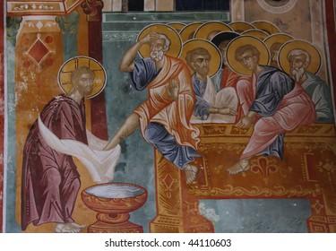 Medieval fresco depicting Washing of feet at Last Supper in Gelati Church near Kutaisi, Georgia.