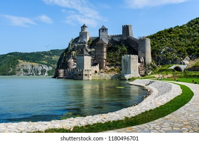 Medieval Golubac fortress on Danube river in Serbia