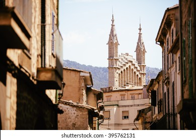 medieval gothic cathedral with huge rose window, Mallorca, Spain