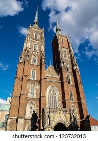 Medieval, gothic cathedral in Ostrow Tumski in Wroclaw, Poland