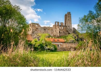 Medieval gothic ruins of Castle Okor near Prague, Central Bohemia, Czech Republic