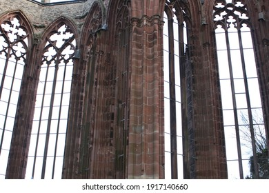 medieval gothic tracery windows on the ruins of the Wernerkapelle in Bacharach am Rhein