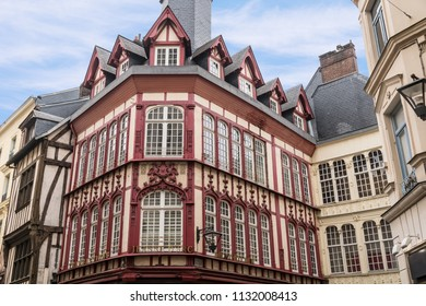 Medieval Half-Timbered Houses of Rouen, France which is the capital of the northern French region of Normandy.