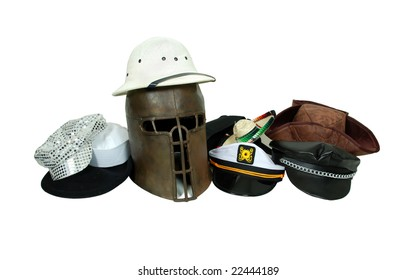 Medieval helm and a collection of various hats