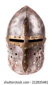 a medieval helmet isolated over a white background