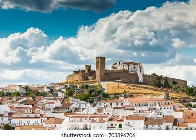 Medieval hilltop castle of Arraiolos. Portugal, Alentejo