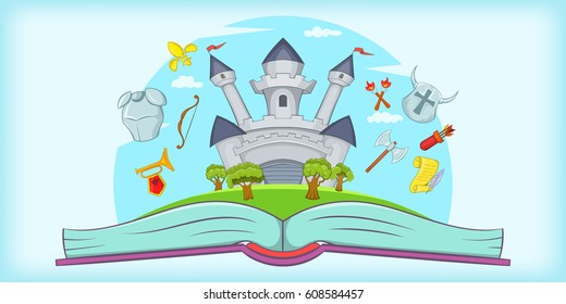 Medieval horizontal banner concept tale. Cartoon illustration of medieval  horizontal banner for web