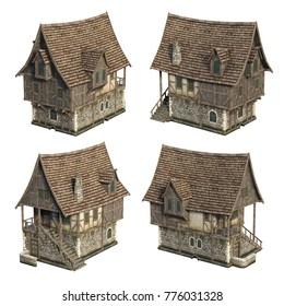 Medieval house set. 3D illustration