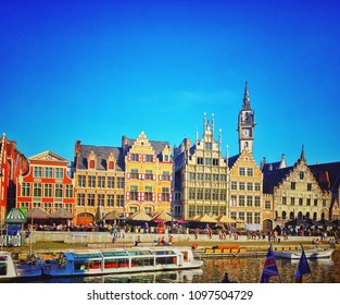 Medieval houses along Leie embankment in town of Ghent, Belgium