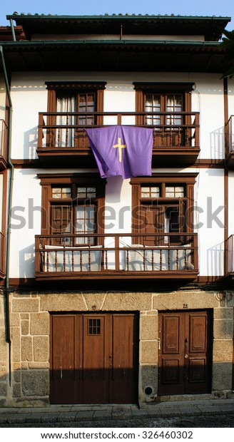 Medieval houses in the Historical Center of Guimaraes, Portugal
