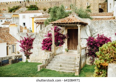 Medieval houses in Obidos, Portugal, decorated with flowers