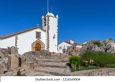 Medieval Igreja de Santiago Church in Marvao, Alto Alentejo, Portugal. Typical and traditional Alentejo white washed walls