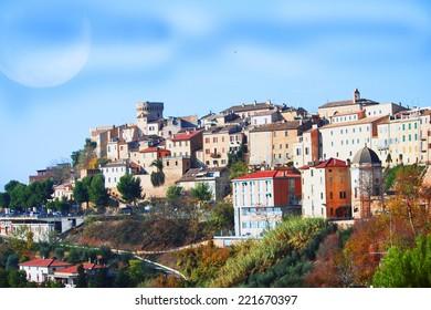 Medieval Italian town on top a mountain, Acquaviva