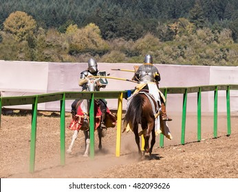 Medieval Jousting Knights on Horseback