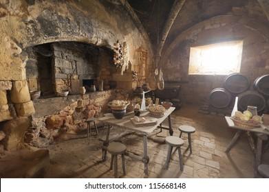 Medieval kitchen in old castle in France