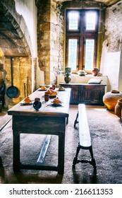 Medieval kitchen in old European castle