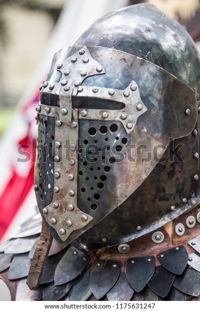Medieval Knight Armor Helmet Gloves Suit Stock Photo (Edit