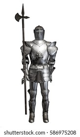 Medieval knight armour over white isolated background. full body armor suit isolated against white background