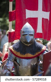 Medieval knight in full armor ready to fight