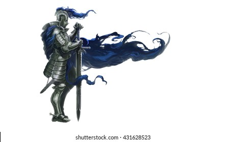 Medieval knight with long sword