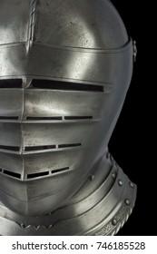 medieval knight Maximilian helmet armet on black background