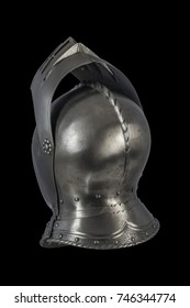 medieval knight Maximilian helmet armet on black background
