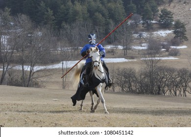 Medieval knight preparing for joust
